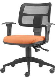 Cadeira Zip Tela Assento Crepe Coral Base Rodizio Piramidal Em Nylon - 54411 Sun House