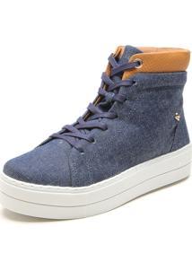 Tênis Flatform Cravo & Canela Cano Jeans Azul/Caramelo