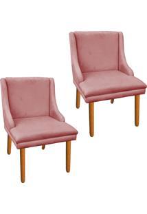 Kit 02 Cadeira Poltrona Decorativa Liz Suede Rose - D'Rossi