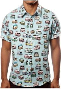 Camisa Camaleão Urbano Kombi Masculina - Masculino-Azul