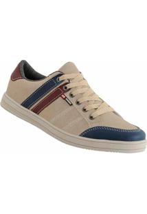 Sapatênis D&R Shoes Em Couro Masculino - Masculino-Bege