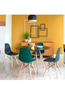 Conjunto De Mesa De Jantar Com 4 Cadeiras Eames Eiffel Premium Preto E Verde