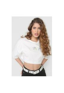 Camiseta Cropped Colcci Lettering Holográfico Off-White