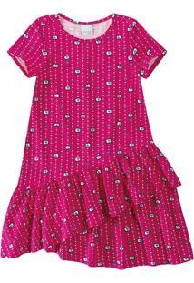Vestido Com Babados Infantil Malwee Kids Rosa Escuro - 4