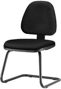 Cadeira Sky Com Bracos Fixos Assento Crepe Base Fixa Preta - 54825 Sun House
