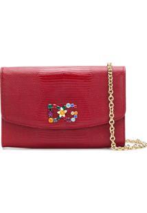Dolce & Gabbana Bolsa Carteira De Couro Com Logo - Vermelho