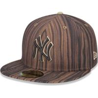Boné New Era 5950 New York Yankees Aba Reta Marrom 6479de6d6ab