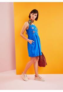 Vestido Voil Alcas Grigri Bordado Flores Azul Claro