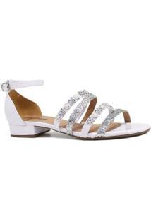 Sandália Zariff Shoes Rasteira Verniz Pedras