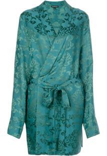 Ann Demeulemeester Brocade Wrap Jacket - Verde