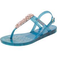 9b86f85faecfc Clóvis Calçados. Sandália Infantil Feminina Frozen Castelo Real Azul Rosa  Grendene ...