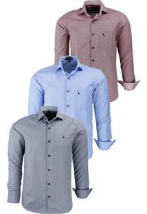 Kit 3 Camisas Amil Social Comfort 1657 Vinho / 1668 Azul Bebê / 1670 Chumbo