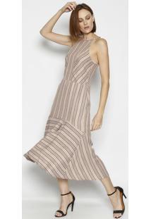Vestido Longo Listrado Com Recorte- Rosê & Preto- Lilinho Fino