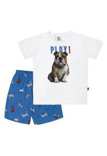 Pijama Meia Malha - 46550-3 - (1 A 3 Anos) Pijama Branco - Primeiros Passos Menino Meia Malha Ref:46550-3-1