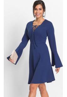 Vestido Evasê Mangas Flare Azul
