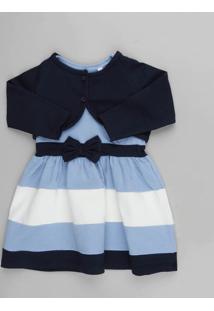 Vestido Infantil Sem Manga Azul Claro + Bolero Manga Longa Azul Marinho