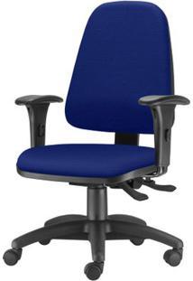 Cadeira Sky Presidente Com Bracos Assento Crepe Azul Base Nylon Arcada - 54807 - Sun House
