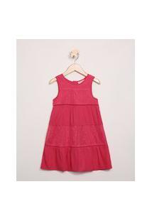Vestido Infantil Com Recortes E Renda Sem Manga Vermelho