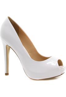 Sapato Cecconello Noivas Peep Toe Verniz