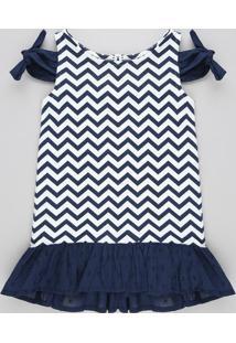 Vestido Infantil Open Shoulder Estampado Chevron Com Nó E Babado Azul Marinho