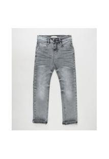 Calça Jeans Infantil Com Bolsos Cinza Escuro