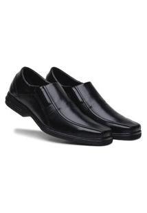 Sapato Social Preto Bico Quadrado Comfort Ortopedico Bertelli