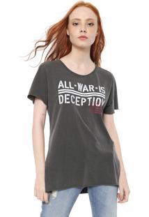 Camiseta Ellus Co Military Phrases Grafite