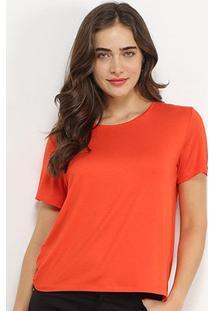 Camiseta Sommer Lisa Feminina - Feminino-Laranja Escuro
