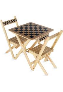 Mesa De Xadrez Com Cadeiras - Marrom Claro & Preta- Carlu