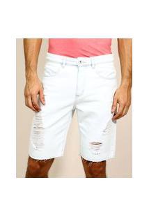 Bermuda Jeans Masculina Slim Com Bolsos Destroyed Azul Claro