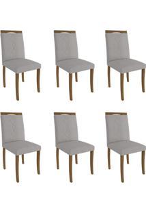 Conjunto Com 6 Cadeiras De Jantar Laura Linho Madeira E Aspen