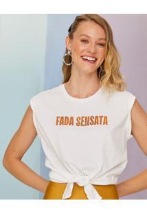 Amaro Feminino T-Shirt Cropped Carnaval Frase, Off-White