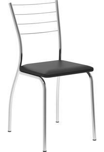 Kit 2 Cadeiras 1700 Napa Cromado Móveis Carraro Preto