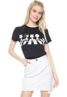 Camiseta Snoopy Estampada Preta