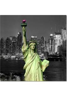 Quadro Impressão Digital Nova York Liberdade Verde 45X45 Uniart