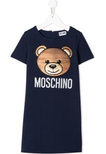 Moschino Kids Vestido Com Estampa Do Urso Teddy Em Paetês - Azul