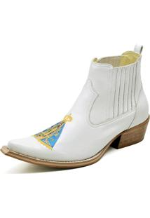 Botina Bota Country Bico Fino Top Franca Shoes Verniz Branco