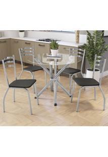 Conjunto Mesa Redonda De Vidro 4 Cadeiras Crome Cmc307Cr-110 Preto