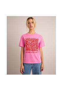 "Camiseta Oversized De Algodão ""Performer But Not Always"" Manga Curta Decote Redondo Rosa"