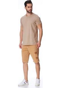 Bermuda Jeans Zait Tradicional Victor Masculina - Masculino-Marrom