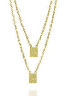 Escapulário Medalhas Retangulares 60 Cm Semi Joia Dourado