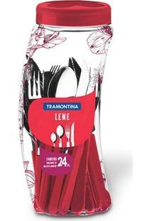 Faqueiro De Aço Inox Leme Vermelho Tramontina 24 Peças Ref-23198/731