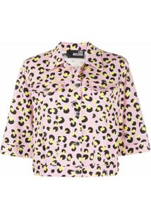 Love Moschino Jaqueta Cropped Com Animal Print - Rosa