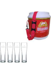 Cooler Térmico Brahma Brasil 20 Litros + 4 Copos De Cerveja Madson Patagonia 500 Ml
