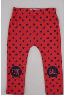 Calça Infantil Estampada De Estrelas Vermelha