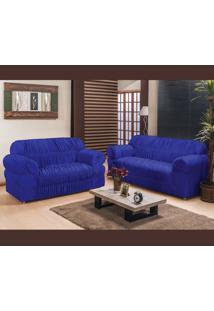 Capa De Sofá América 2 E 3 Lugares Elasticada Tecido Malha Gel Azul Royal Borda Bordados Enxovais