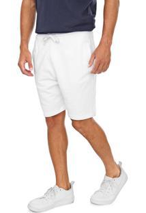 Bermuda Calvin Klein Jeans Reta Lisa Branca