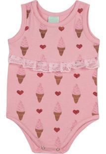 Body Bebê Em Cotton Estampado Feminino - Feminino