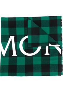 Moncler Cachecol Xadrez De Lã Com Logo - Verde