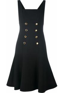 Dolce & Gabbana Vestido Com Detalhe De Botões - Preto